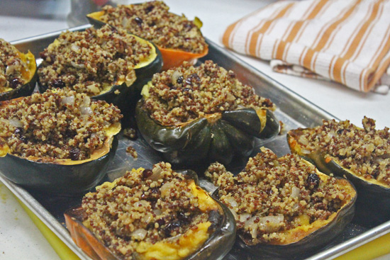 Quinoa mixture stuffed into the Acorn Squashes.