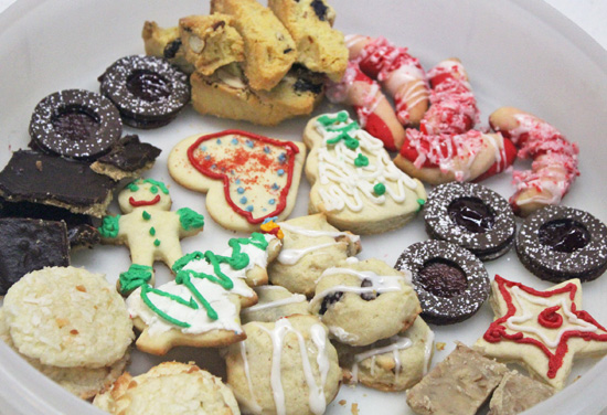 A sampling of the eight cookies made in our 2015 Holiday Cookie Baking Class.