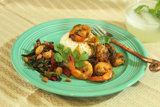 We served the Sautéed Shrimp with Ancho Chile and Garlic with Swiss Chard laced with golden raisins, pine nuts and sherry at our Southwestern Fiesta class.