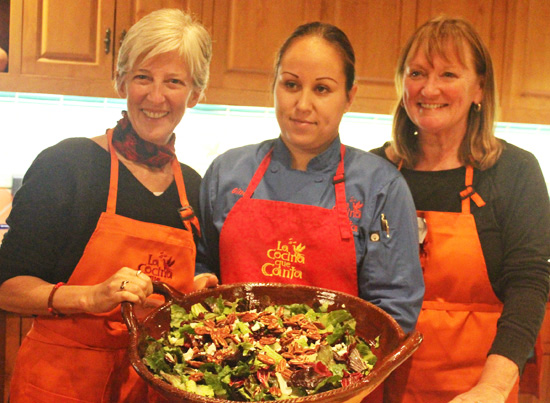 Karen, Sous Chef Gina and Jammie show off the Red and Green Salad.