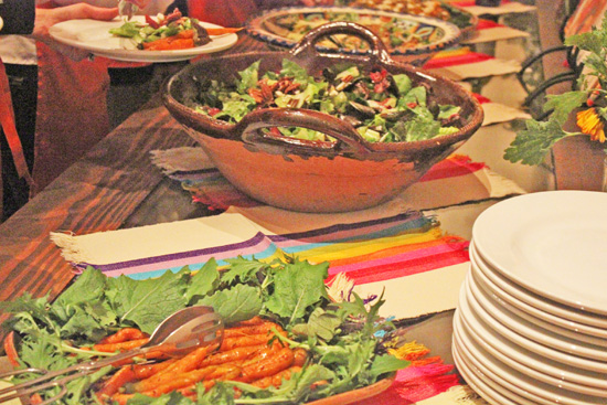 Beautiful food served with beautiful Mexican pottery and linens.