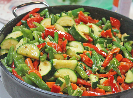 Balti Stir-fried Vegetables cook up in about 7 minutes.