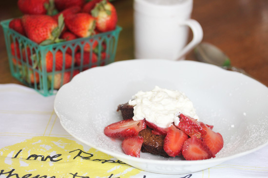 Serve gingerbread muffins with strawberries and whipped cream.  Yum-my!