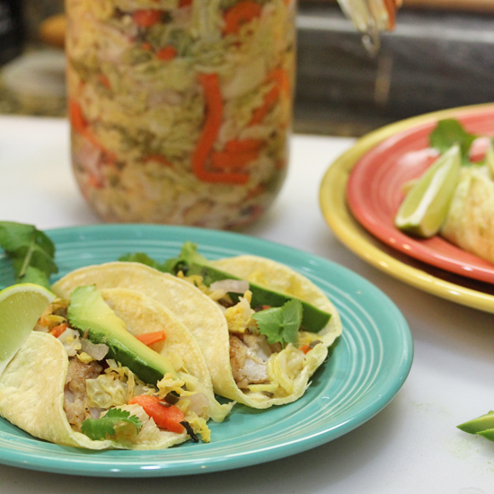 Fermented Curtido tops fish tacos.