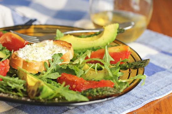 Grilled Vegetable and Arugula Salad with Goat Cheese Crostini.