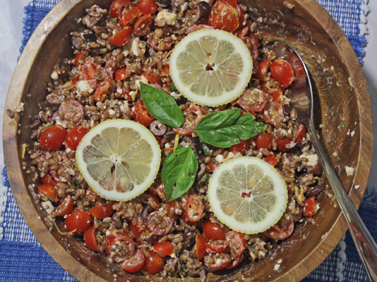Italian Farro Salad with Tnuva feta cheese.