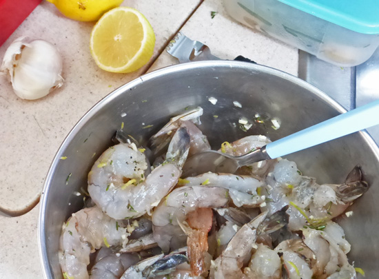Catalina Island Grilled Shrimp made on a sailboat from FreshFoodinaFlash.com.