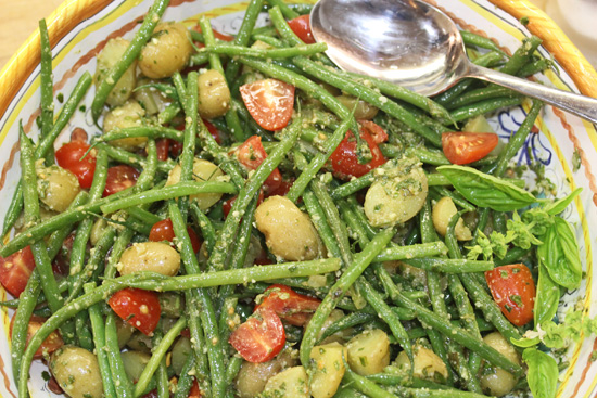 Green Bean, Potato, Tomato and Pesto Salad recipe from FreshFoodinaFlash.com.