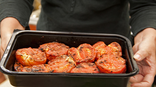 Grilled Tomatoes for the Grilled Tomato and Cucumbr Bruschetta from FreshFoodinaFlash.com.