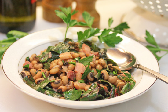 Black-Eyed Peas with Ham and Swiss Chard recipe from FreshFoodinaFlash.com