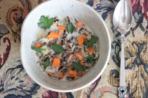 Minnesota Wild Rice Soup in a stoneware bowl