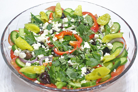 Authentic Greek Salad recipe from FreshFoodinaFlash.com
