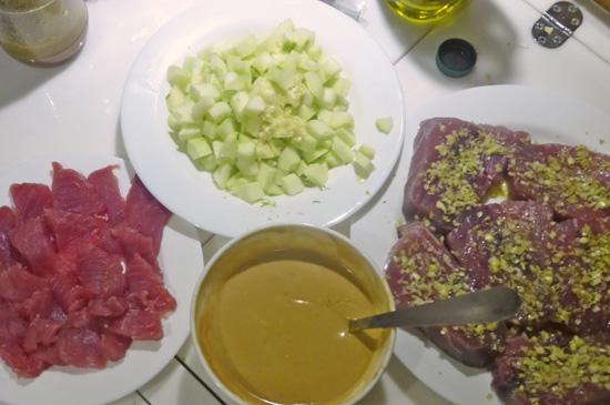 Lemon Grass Crusted Tuna with Cucumber Salsa and Peanut Sauce recipe at FreshFoodinaFlash.com