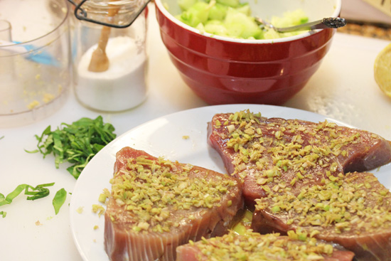 Lemon Grass Crusted Tuna with Cucumber Salsa and Peanut Sauce 11-16