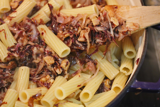 Rigatoni with Radicchio, Gorgonzola and Walnuts recipe at FreshFoodinaFlash.com