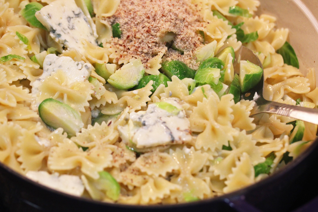 Bow Tie Pasta with Brussels Sprouts, Gorgonzola and Hazelnuts recipe at FreshFoodinaFlash.com
