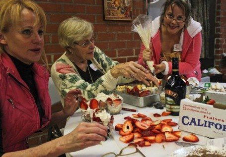 Sioux, Donna and Gloria prepping the Bailey's Irish Cream Trifles.