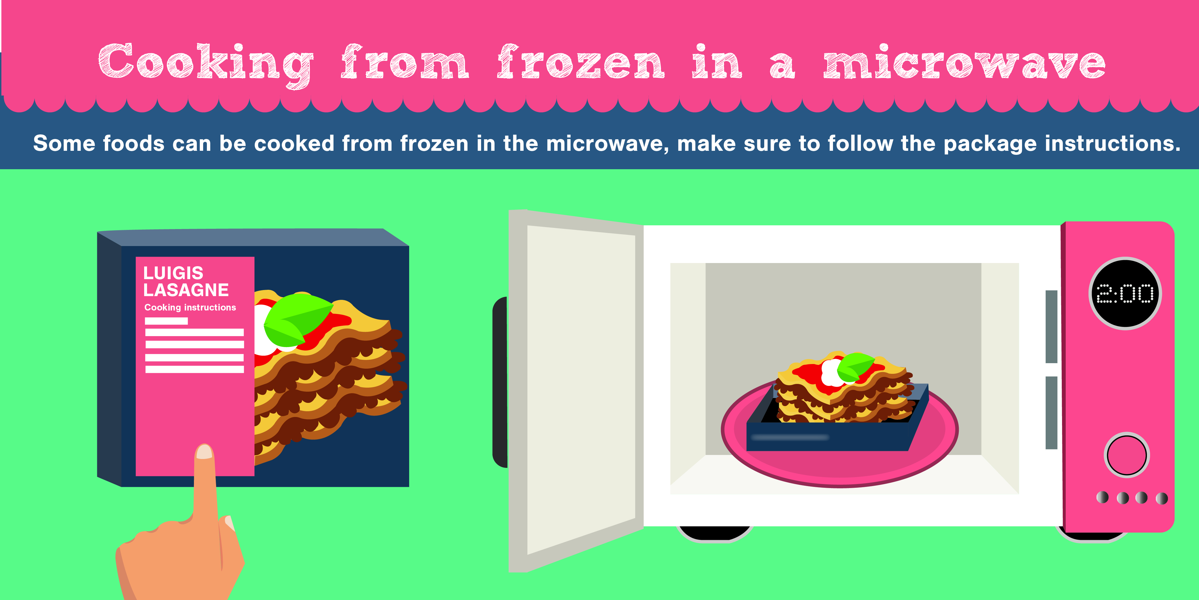 cooking frozen food in a microwave