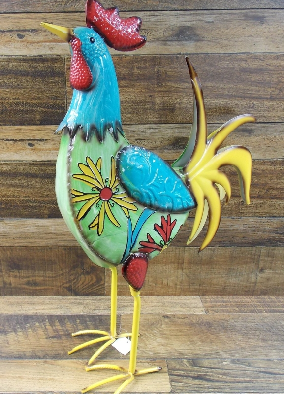 Multi Colored Metal Rooster With Floral Design Yard Garden