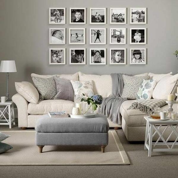wandgestaltung wohnzimmer neutrale farben beige grau wandgestaltung mit bildern familienfotos