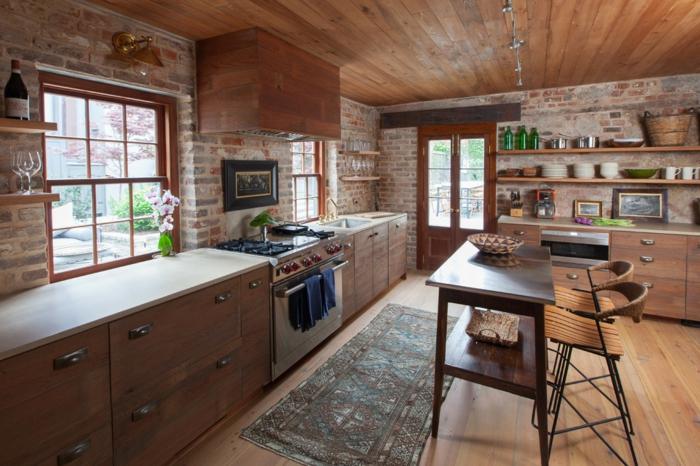 amenagement cuisine rustique moderne murs en briques rangements muraux