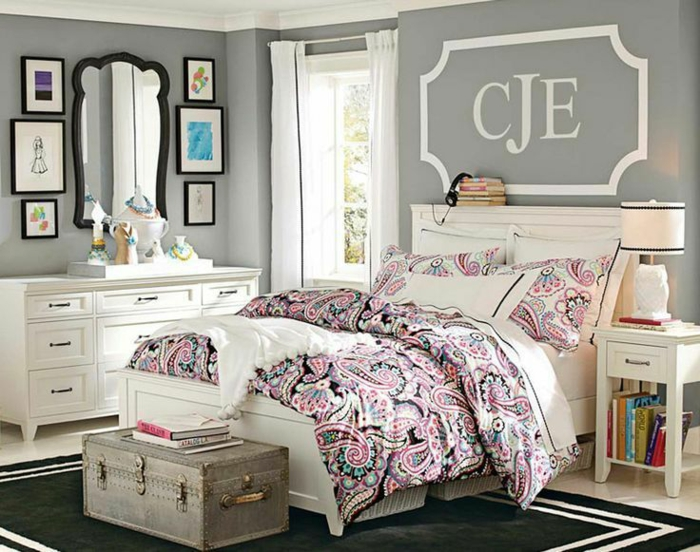 idee chambre ado fille gris