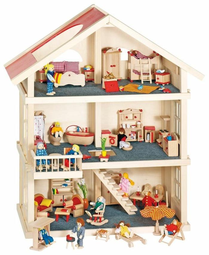 maison de poupee en bois meubles et petites figurines