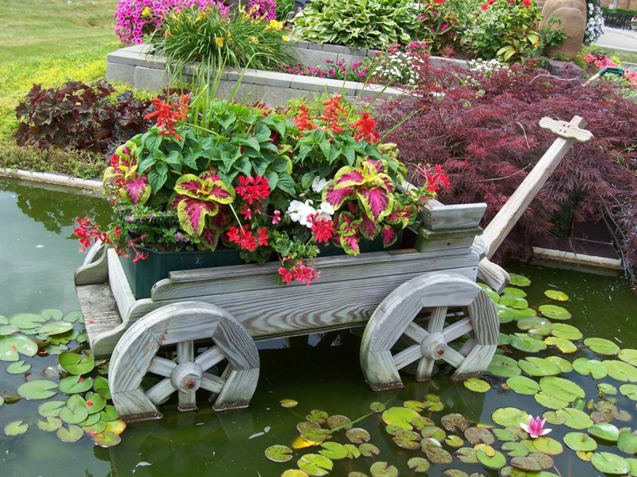 son jardin avec des objets de