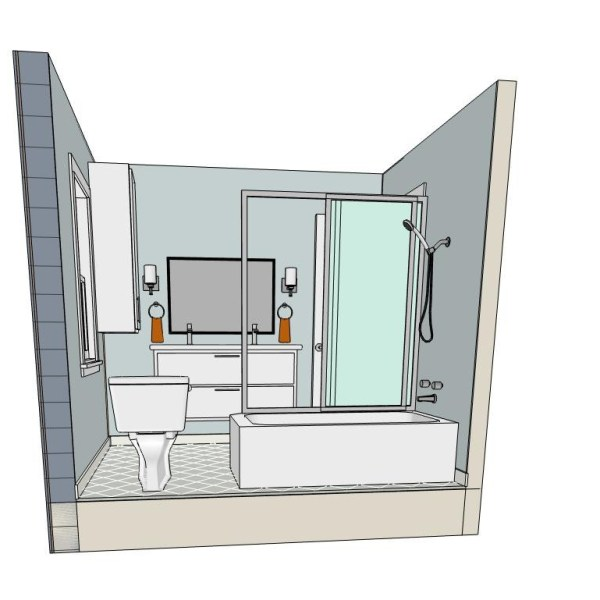 "Perspective view of bathroom with ""invisible"" back wall"