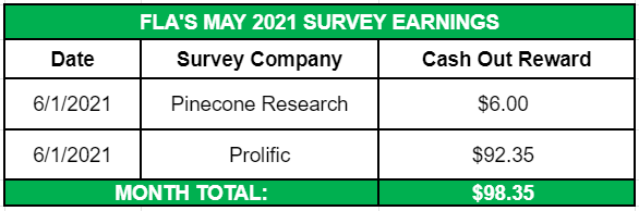 May Side Income 2021 Survey Earnings