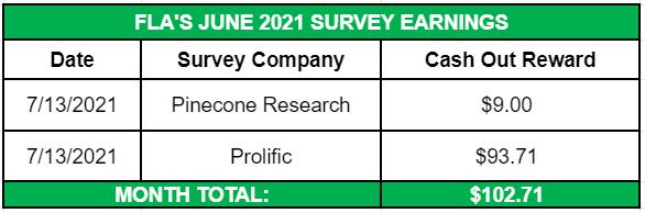 June Side Income 2021 Survey Earnings