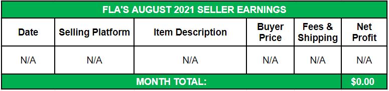 August Side Income 2021 Seller Earnings