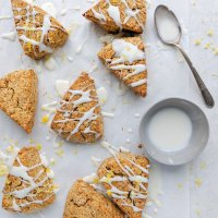 Earl Grey Scones with Lemon Honey Glaze (paleo, vegan option)