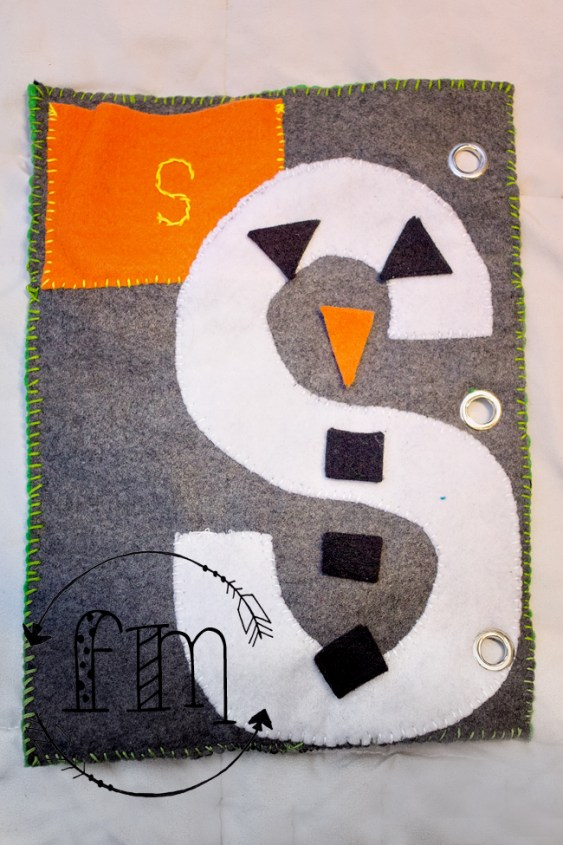 s is for snowman quiet book 4