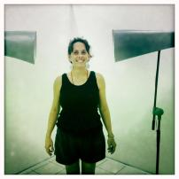 Annalee Davis with the work of Robin Vogel, sound installation