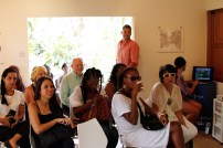 Third Row: Elisa Eisenlohr, Vivian Gandelsman and Andrew Senior; Second Row: Thereza Farkas, Yanique Hume and Jenni Lewin-Turner, Front Row: Bel Gurgel (right) and her interpreter