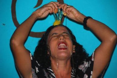 Sandra Vivas during a performance piece