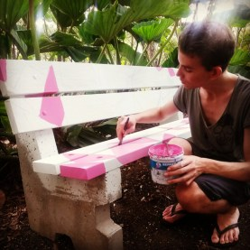 Evan Avery working on his bench 'Let's go to the future together'