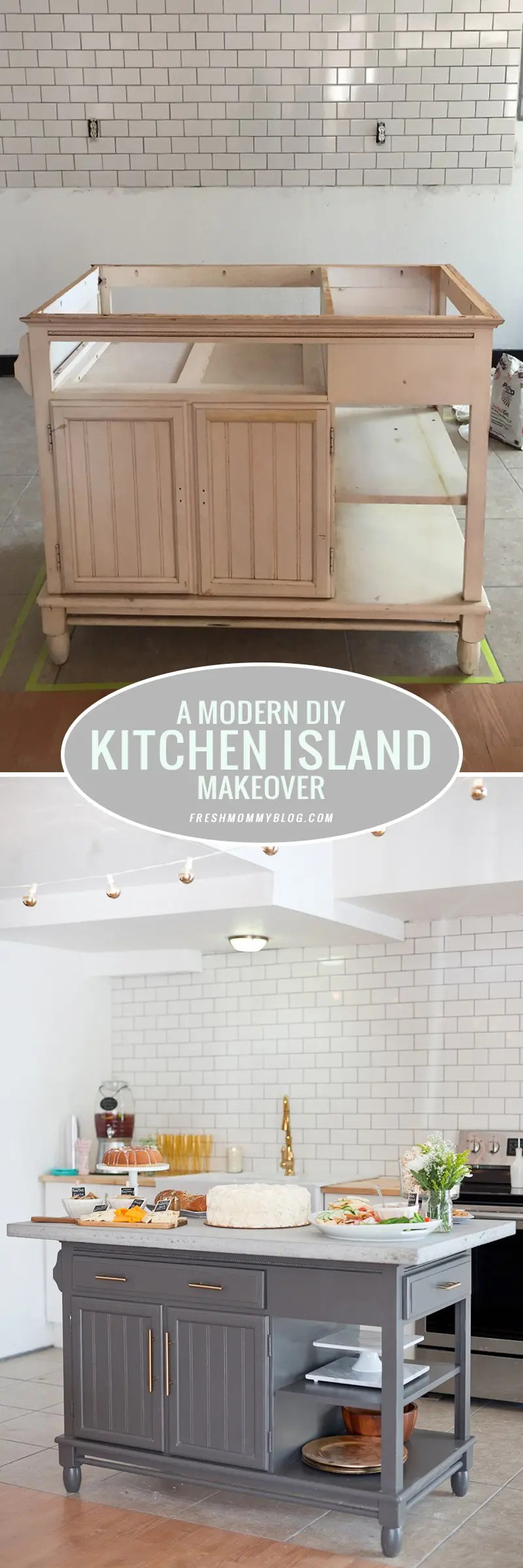 A Modern DIY Kitchen Island Makeover on a Bud Fresh Mommy