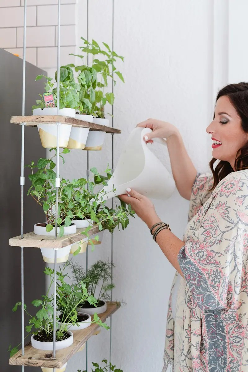 Custom Potted Hanging Herb Garden - Hanging Herb Garden DIY by popular Florida lifestyle blogger Fresh Mommy Blog