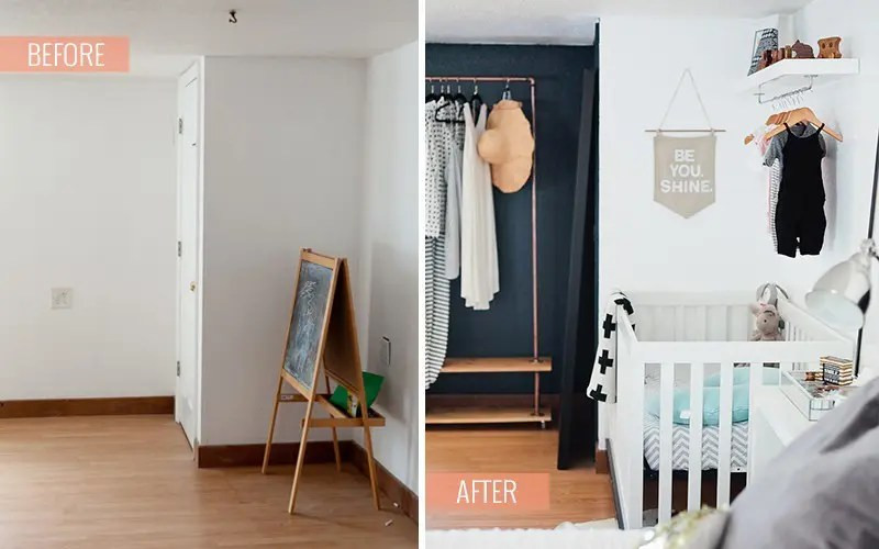 A Newly Designed Master Bedroom and Nursery Suite in Navy and White with Fresh Mommy Blog and Valspar Paint Zero VOC. Before and After.