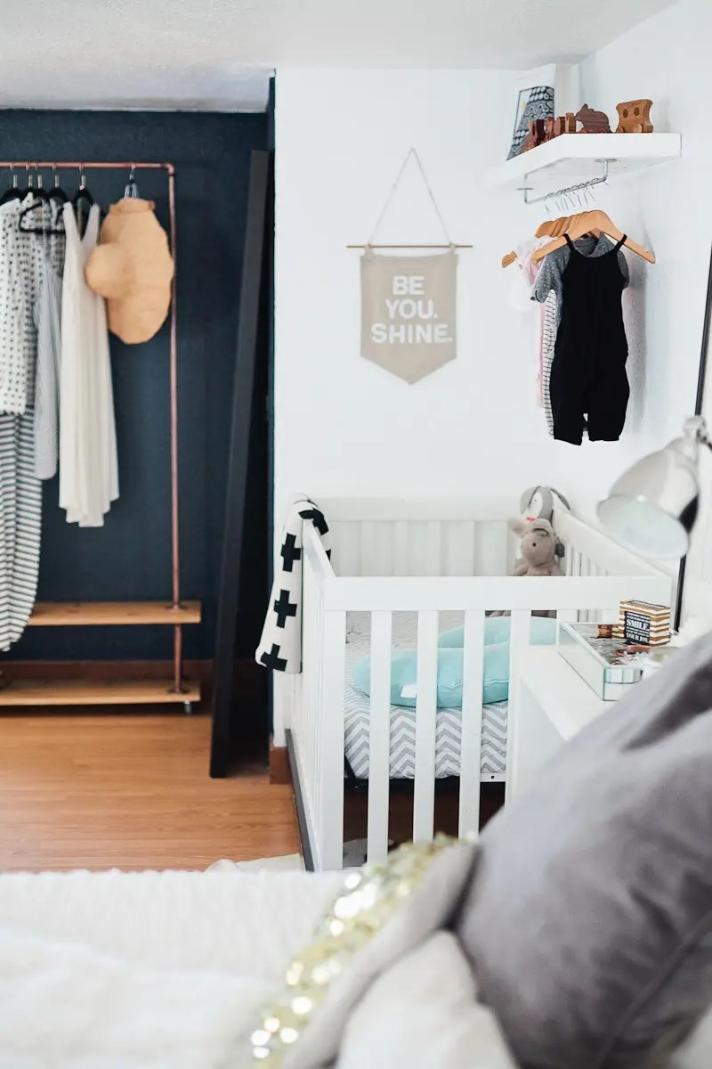 A Redesigned Master Bedroom and Nursery Suite in Navy Blue and White