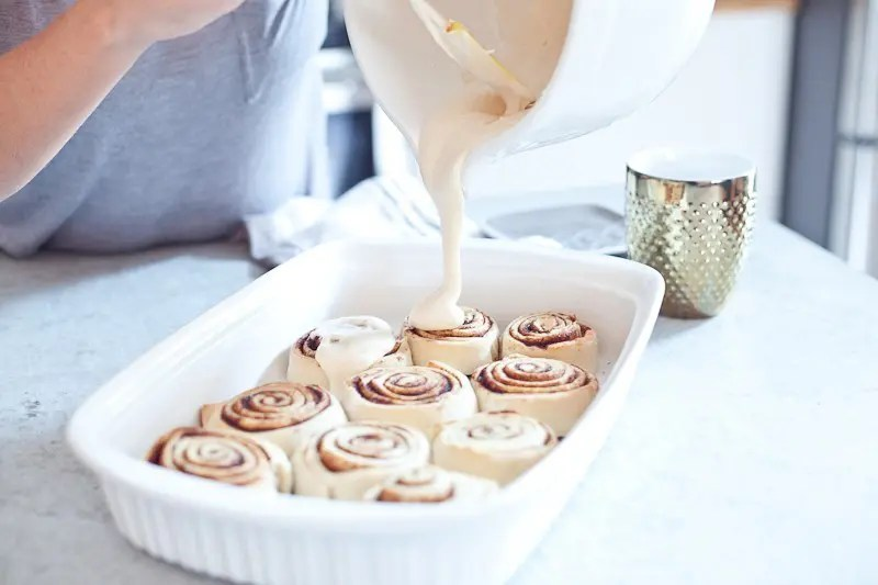 Delicious Cinnamon Rolls with Coffee Cream Cheese Icing. Soft and Fluffy and on the table in just 45 minutes! The only cinnamon bun recipe you need!