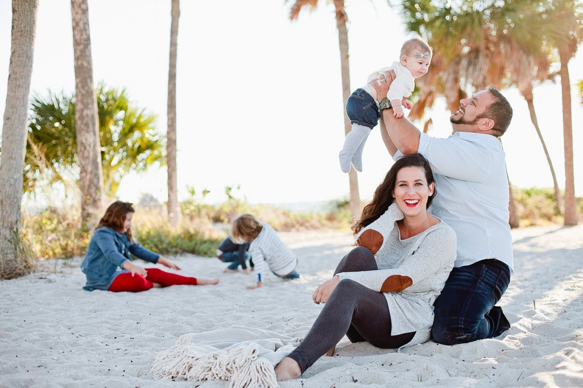 A frolicking, fun, family Christmas card photo shoot at the beach!