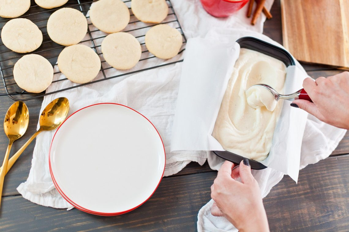 A delightfully creamy eggnog ice cream and sugar cookie egg nog ice cream sandwiches! A perfect holiday treat for both adults and kids, great for Christmas parties too!
