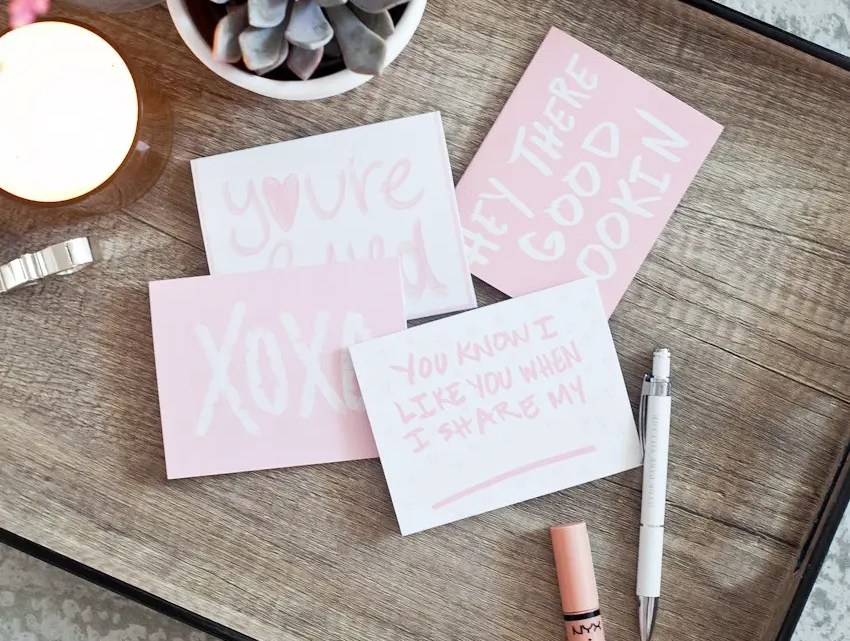 Valentine Card 4 Pack FREE download and printable from Tabitha Blue of Fresh Mommy Blog. Print off and fill out your own cute cards for your very special Valentine. Perfect for the kids to use too!