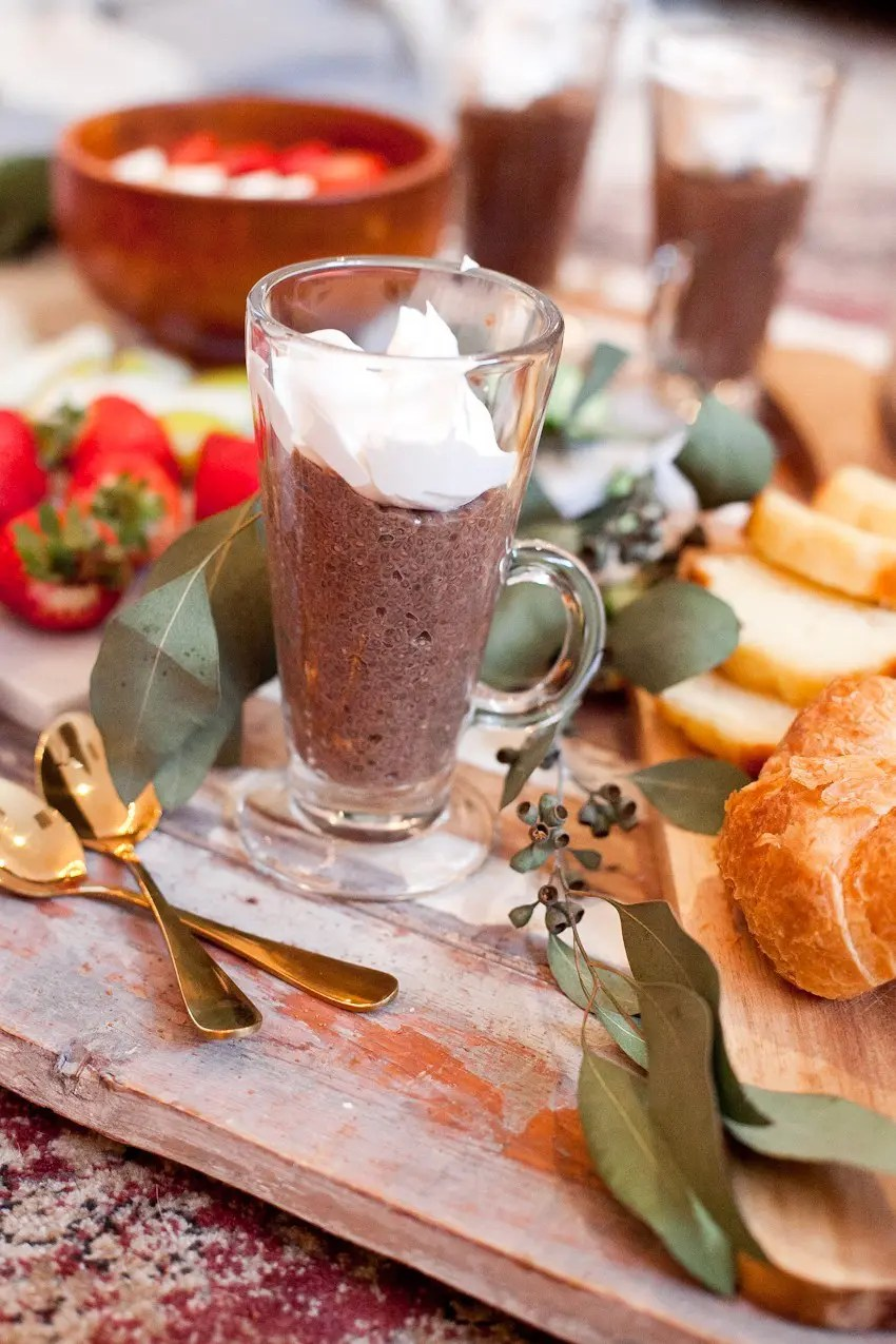 Create a fun indoor picnic brunch, whether it's a rainy day outdoors or not! Plus this Mocha Chia pudding recipe is so good!