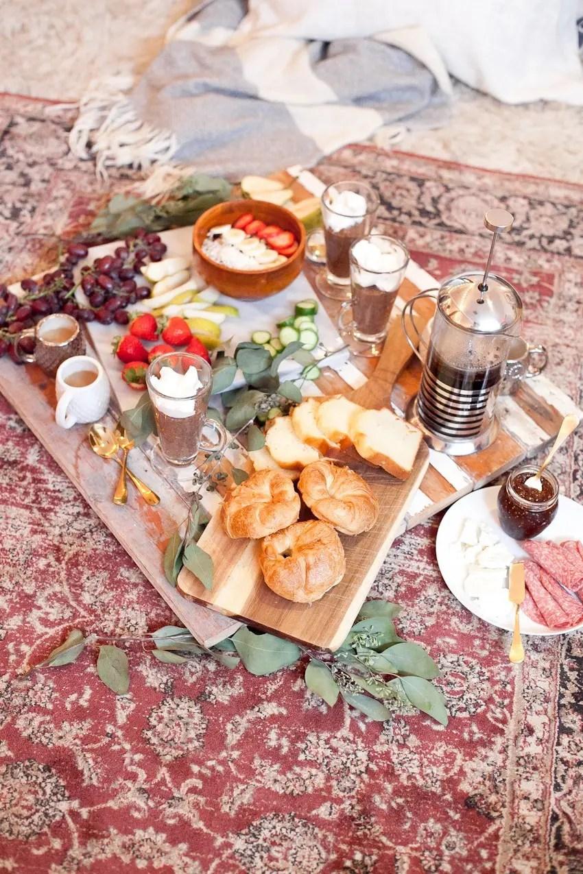 Indoor Picknick indoor picnic brunch mocha chia pudding fresh