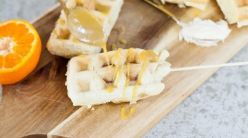 The quick and simple way to make Waffle Dog on a Stick with Orange Maple Glaze. Kids love it and so do adults! Perfect for a meal, a party or an appetizer!