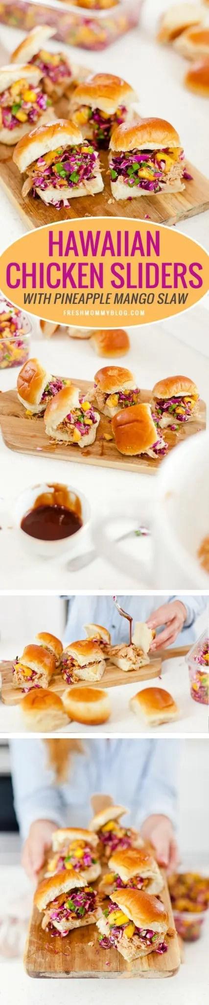 Easy Entertaining and BBQ Hawaiian Chicken Sliders with pineapple mango slaw recipe!